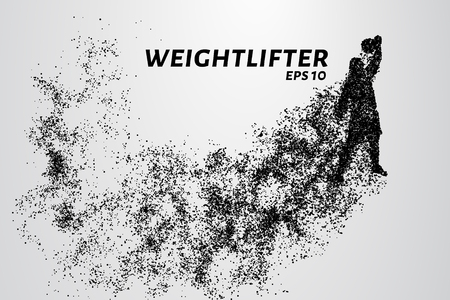 Weightlifting of particles. Athlete raises the bar in the snatch Ilustração
