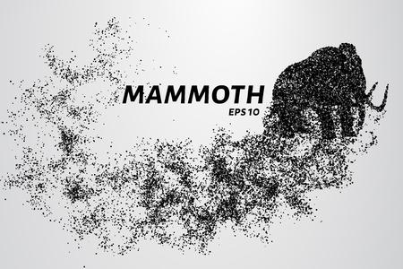 De mammoet van de deeltjes. Mammoth bestaat uit cirkels en punten. Vector illustratie