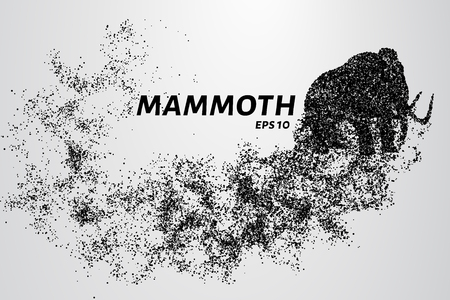 The mammoth of the particles. Mammoth consists of circles and points. Vector illustration