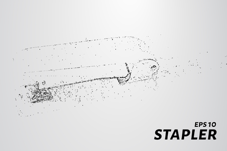 staple: The stapler of the particles. The stapler consists of small circles and dots. Vector illustration.