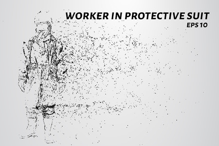 Worker in a protective suit of the particles. Worker in protective suit consists of circles and points. Vector illustration Vectores