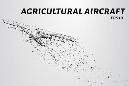 The plane of the particles. Agricultural aircraft takes off. The plane disintegrates to smaller molecules. Vector illustration.