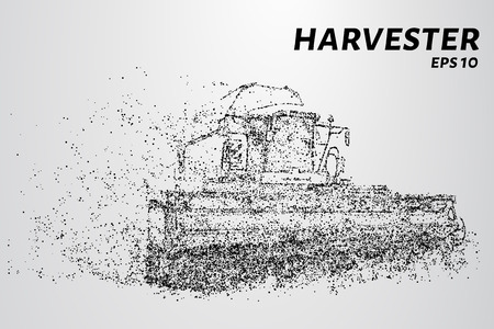 Harvester of particles. The harvester consists of small circles. Combine into smaller molecules. Vector illustration