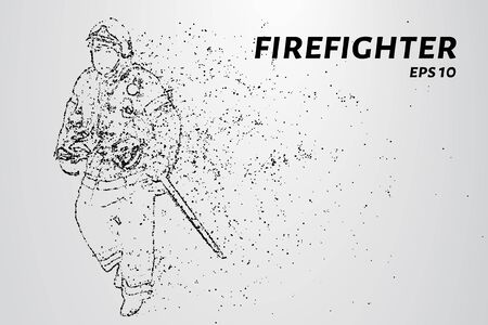 Firefighter of the particles. Firefighter consists of circles and points. Vector illustration.