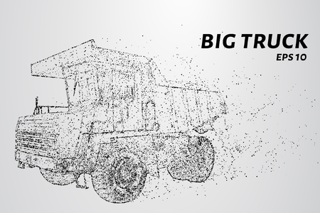 A big truck from the particles. Big truck consists of small circles and dots. Vector illustration.