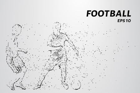 Football players consists of points and circles. A soccer player dribbles of the opponent. Vector illustration Çizim