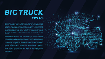 A large truck that consists of points. Particles in the form of a truck on a dark background. Vector illustration. Graphic concept of a large truck