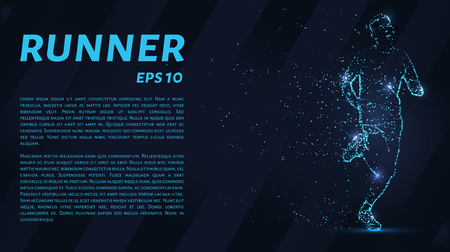 Runner consists of points. Particles in the form of a runner on a dark background. Vector illustration. Graphic concept running. Ilustracja
