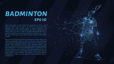 Le badminton est constitué de points. Particules sous la forme de badminton sur fond sombre. Illustration vectorielle Badminton concept graphique. Banque d'images - 83803268