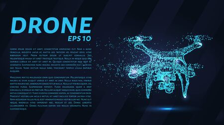 The drone consists of points. Particles in the form of a drone on a dark background. Vector illustration. Graphic concept drone. Ilustracja