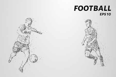 Football of the particles. Game time a soccer player dribbling. Graphic concept football
