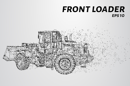 sand quarry: Front loader from the particles. Construction equipment is scattered on small molecules. Vector illustration. Illustration