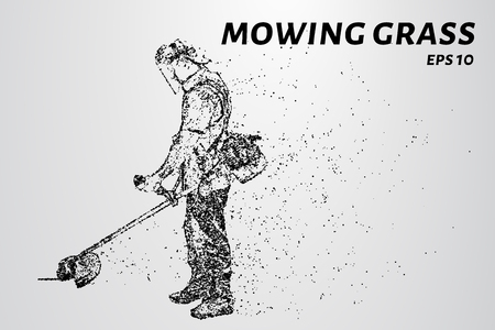 Mowing the grass from the particles. Silhouette mows the grass consists of dots and circles. Vector illustration