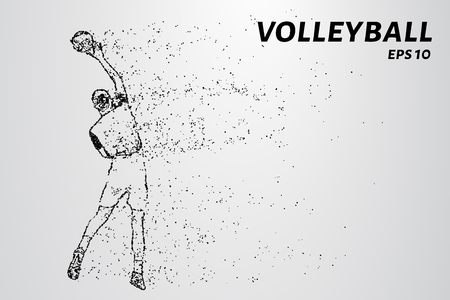 Volleyball, particle divergent composition, vector illustration. Silhouette of a volleyball from particles Illustration