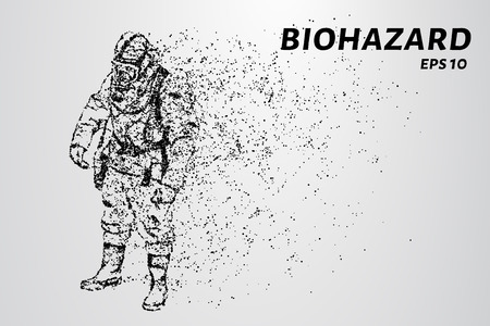 The biological hazard of particles. Man in protective suit consists of dots and circles Vettoriali