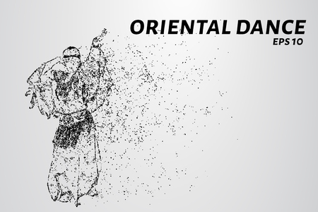 Oriental dance of the particles. The Eastern dancing consists of dots and circles. Vector illustration.
