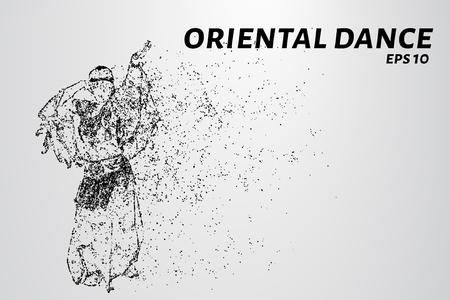 Danza oriental de las partículas. El baile oriental consiste en puntos y círculos. Ilustración del vector.
