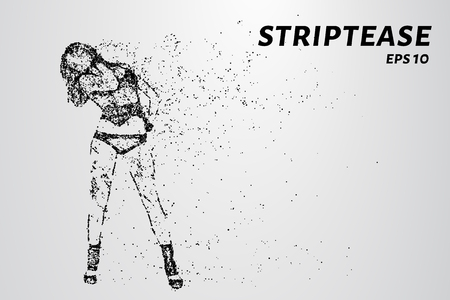 Striptease of particles. Striptease consists of dots and circles. Vector illustration. Ilustrace