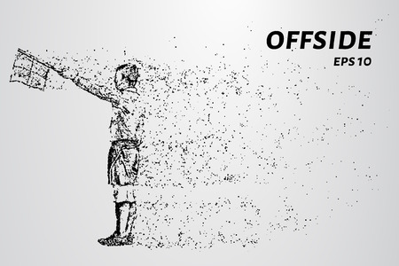 The offside of the particles. The referee raised the flag consists of dots and circles. Vector illustration. Illustration