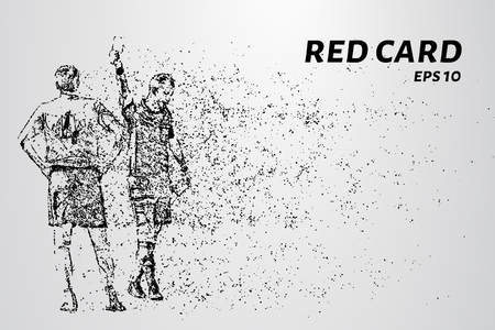 Red card of the particles. Referee gives player red card consists of dots and circles. Vector illustration.