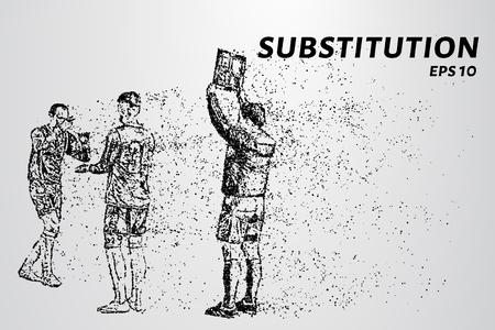 Substitution der Teilchen Substitution besteht aus Punkten und Kreisen. Vektor-Illustration.