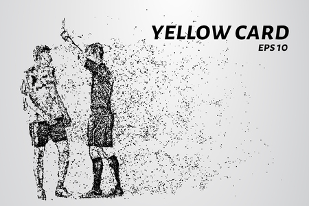 Yellow card of the particles. Referee gives player yellow card consists of dots and circles. Vector illustration. Illustration