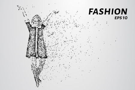 Fashion of particles. Model fashion show consists of dots and circles. Vector illustration. Illustration