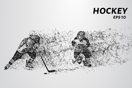 hockey goal: Hockey player of the particles. Silhouette of a hockey player consists of points Illustration