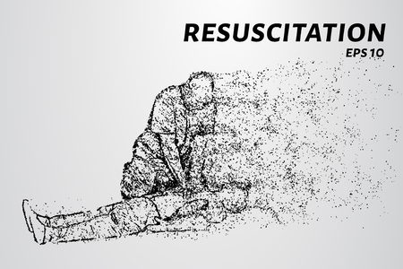 Resuscitation of the particles. People doing CPR on the victim. Vector illustration.