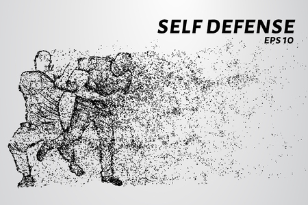 Self-defense of the particles. The struggle with the robbers. Silhouette of dots and circles. Vector illustration