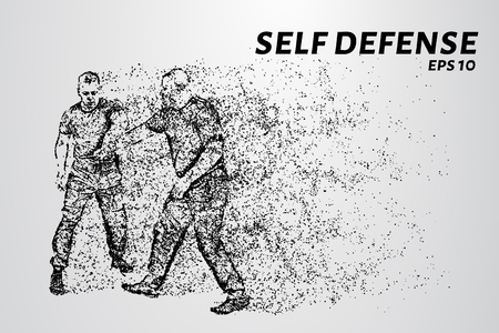dangerous man: Self-defense of the particles. Man defends against attack with a knife. Silhouette of dots and circles. Vector illustration Illustration