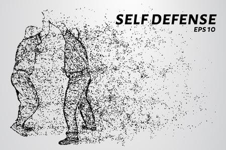 Selbstverteidigung der Partikel. Der Mann verteidigt den Angriff mit einem Messer. Silhouette von Punkten und Kreisen. Vektor-Illustration Standard-Bild - 85998305