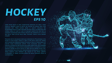 Hockey from the particles. Hockey breaks down into small molecules. Vector illustration