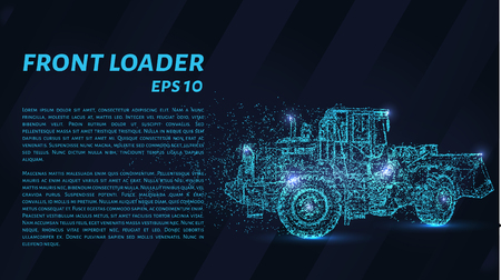 Front loader from the particles. Construction equipment is scattered on small molecules. Vector illustration. Illustration