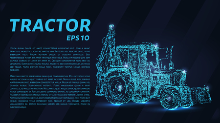 The tractor which consists of points. Particles in the form of a tractor on a dark background. Vector illustration. Graphic concept of the agricultural business. Illustration