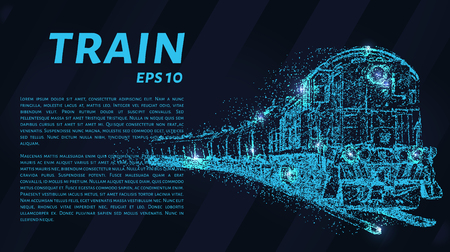 The train which consists of points. Particles in the form of a train on a dark background. Vector illustration. Graphic concept of the railway business.