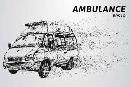 Ambulance of particles. Ambulance consists of circles and points. Vector illustration.
