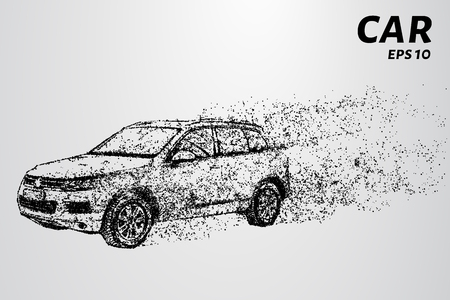 The car of the particles. The crossover consists of circles and points. Vector illustration.