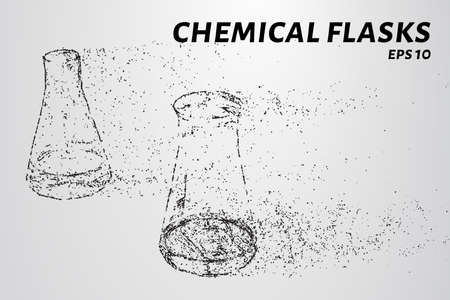 The chemistry of the particles. Chemical flasks composed of circles and dots. Vector illustration. Illustration