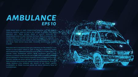 Ambulance of particles. Ambulance on a dark background. Vector illustration. Illustration