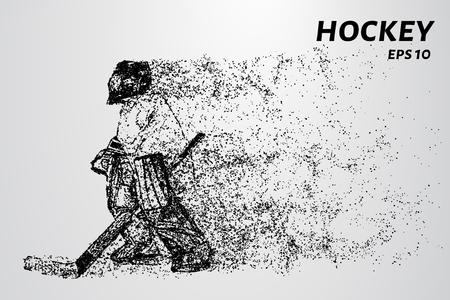 Hockey van de deeltjes. De doelman bestaat uit cirkels en punten. Vector illustratie