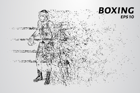 The Boxing of the particles. Boxer in the corner of the ring. Vector illustration. Illustration