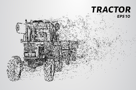 Tractor of the particles. Tractor with trailer consists of dots and circles. Vector illustration. Illustration