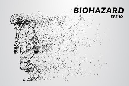 The biohazard of the particles. Man in protective suit. Vector illustration.