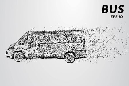 The bus from the particles. The bus consists of circles and points. Vector illustration.