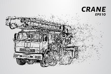 A crane of the particles. The crane consists of circles and points. Vector illustration Ilustração