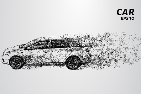 Car from the particles. The car consists of circles and points. Vector illustration.