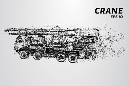 Mobile crane consists of dots and circles. The crane wind blows the particles. Vector illustration. Illustration