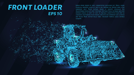 Front loader from the particles. Construction equipment is scattered on small molecules. Vector illustration Illustration