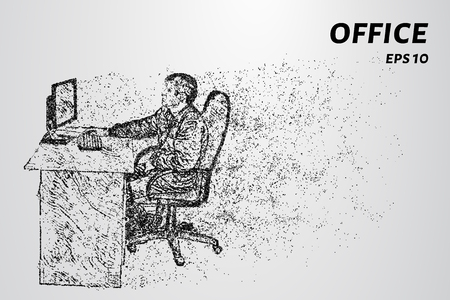 The man behind the computer. Office worker consists of dots and circles. Vector illustration.